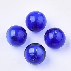 Perles de verre soufflées faites à la main, rond, bleu, 16x16mm, Trou: 1~2mm(X-BLOW-T001-32B-01)