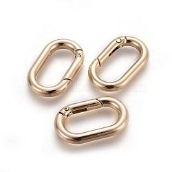 Alliage de zinc fermoirs clés, anneaux à ressort, anneaux ovales, or clair, 34.5x21x5mm(PALLOY-WH0056-02LG)