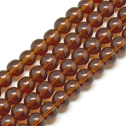 Glass Beads Strands, Round, Saddle Brown, 4mm, Hole: 0.5mm, about 84pcs/strand, 13 inches(X-GR4mm65Y)