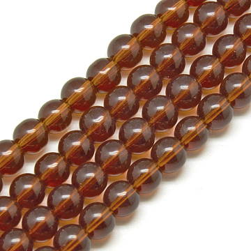 Glass Beads Strands, Round, SaddleBrown, 4mm, Hole: 0.5mm; about 84pcs/strand, 13inches(X-GR4mm65Y)
