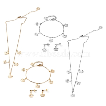 304 Stainless Steel Jewelry Sets, Cable Chains Pendant Necklaces & Stud Earrings & Bracelets, with Lobster Claw Clasps, Crown, Mixed Color, 17.63 inches(44.8cm), 7 inches(17.8cm), 20mm, Pin: 0.7mm(SJEW-Z001-13)