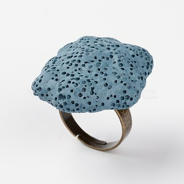 Adjustable Nuggets Lava Rock Gemstone Finger Rings, with Platinum Plated Brass Findings, Steel Blue, 18mm(RJEW-I013-09)
