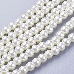 perles de verre rondes crémeuses perles en vrac rondes pour collier de bijoux fabrication artisanale, 6 mm, trou: 1 mm, environ 140 pcs / brin(X-HY-6D-B02)