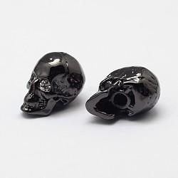 Perles de crâne en laiton avec zircone cubique de micro pave, cz blanc, Sans cadmium & sans nickel & sans plomb, gunmetal, 13x9x11mm, trou: 1 mm et 3 mm(ZIRC-P074-08B-NR)