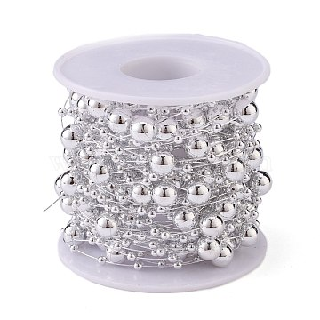 Christmas Tree Round Beaded Garland, Plastic Imitation Pearl Beaded Trim, for Decorating Wedding Party Supplies, with Spool, Silver, 3mm and 8mm; about 10m/roll.(CHAC-H100-05)