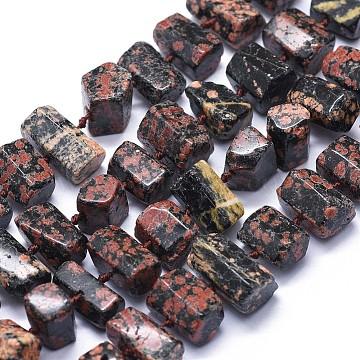 11mm Hexagon Snowflake Obsidian Beads