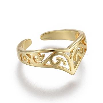 Adjustable Brass Toe Rings, Open Cuff Rings, Open Rings, Golden, US Size 1 3/4(13mm)(RJEW-EE0002-10G)