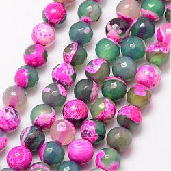Natural Fire Agate Bead Strands, Round, Grade A, Faceted, Dyed & Heated, Violet, 8mm, Hole: 1mm; about 47pcs/strand, 15inches
