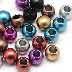 Acryliques perles rondelle mat de pulvérisation peint, Perles avec un grand trou   , couleur mixte, 12x10mm, trou: 6 mm; environ 450 pcs / 500 g(ACRP-Q017-03A-M)
