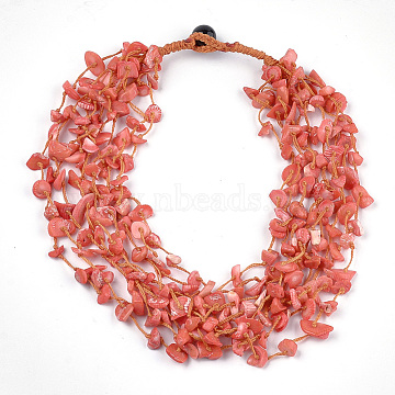 Sea Bamboo Coral(Imitation Coral) Beaded Multi-strand Necklaces, Coral, 18.8 inches(48cm)(NJEW-S414-54B)