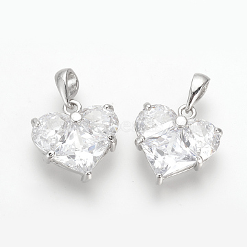 Real Platinum Plated Heart Brass+Cubic Zirconia Charms