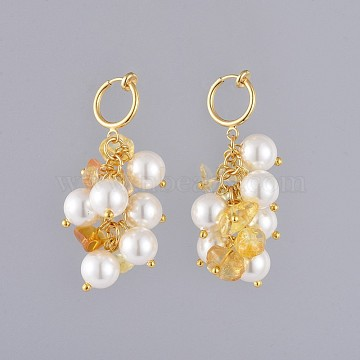 Natural Citrine Chip Clip-on Earrings, with Shell Pearl Beads, Brass Hoop Earring Findings and Cardboard Packing Box, 49mm(EJEW-JE03834-03)