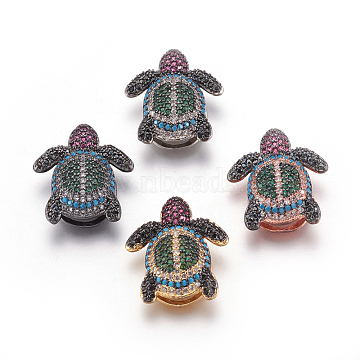 Mixed Color Colorful Tortoise Brass+Cubic Zirconia Slide Charms