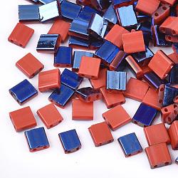 Déposer des perles de rocaille en verre opaque, 2-trou, rectangle, rouge, 5x4.5~5.5x2~2.5mm, Trou: 0.5~0.8mm(SEED-S023-18C-02E)