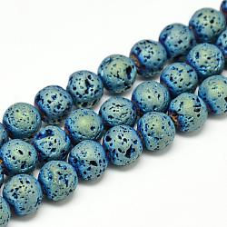 """Chapelets de perles de lava électrolytique naturel, Style mat, rond, vert plaqué, 4~5mm, trou: 0.5mm; environ 88 pcs/chapelet, 13.7~14.9""""(X-G-T058-03C-4MM)"""