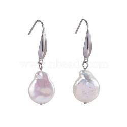 Boucles d'oreilles en perles de keshi naturelles, avec crochets d'oreilles en acier inoxydable, 37.5~41 mm; broches: 0.7 mm(EJEW-JE02985-03)