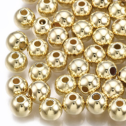 CCB perles en plastique, rond, or clair, 6x5mm, Trou: 1.5mm(X-CCB-T006-004KC-6mm)