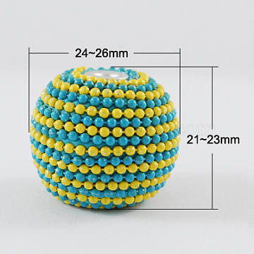 Handmade Indonesia Beads, with Aluminum Cores, Round, Yellow, 24~26x21~23mm(IPDL-R353-2)