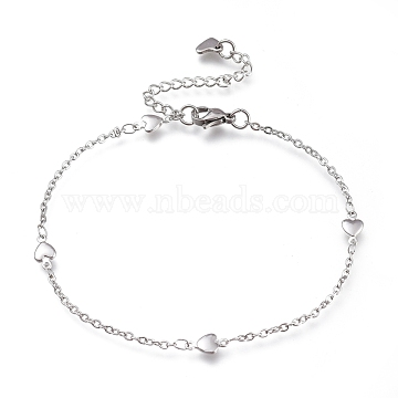 304 Stainless Steel Cable Chain Anklets, with Heart Links and Lobster Claw Clasps, Stainless Steel Color, 8-7/8 inches(22.5cm)(AJEW-M026-13P)