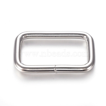 Iron Buckle Clasps, For Webbing, Strapping Bags, Garment Accessories, Rectangle, Platinum, 29x47x3mm, Inner Diameter: 21x38mm(X-IFIN-WH0051-85P)
