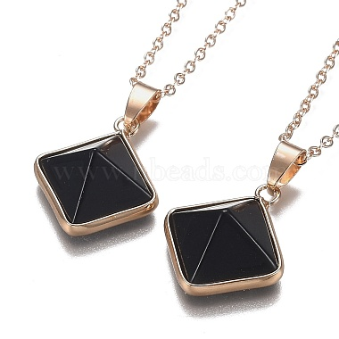 Natural Obsidian Pyramid Geometric Pendant Necklaces(NJEW-H204-01H)-1