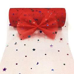 Filet à paillettes d'étoiles, Tissu à carreaux en tulle pour la fabrication de jupe, rouge, 6'' (15.24 cm); environ 10 mètres / rouleau (9.144 m / rouleau).(OCOR-P010-F05)