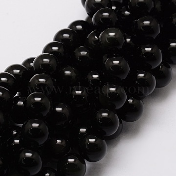 "Natural Obsidian Round Beads Strands, 6mm, Hole: 1mm; about 62pcs/strand, 15.7""(X-G-E329-6mm-37)"