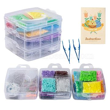 20 Colors DIY Fuse Beads Kit, with Mixed Shape ABC Plastic Pegboards, Ironing Paper and Plastic Tweezers, Iron Keychain Clasp Findings & Chains & Mobile Phone Strap, Plastic Keychain Clasp, Mixed Color, 5x5mm, Hole: 3mm, 6000pcs(DIY-X0295-03A-5mm)