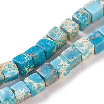 Natural Imperial Jasper Beads Strands, Dyed, Cube, Light Sky Blue, 4.5x4.5x4.5mm, Hole: 0.8mm; about 87~88pcs/strand, 15.1 inches~15.3 inches(38.5~39cm)(X-G-I248-02F)