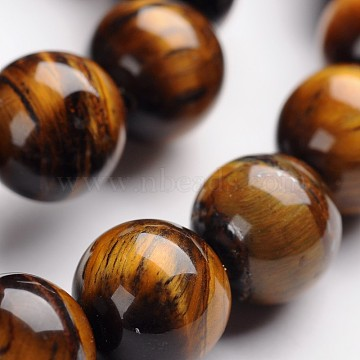 Round Natural Tiger Eye Gemstone Bead Strands, 12mm, Hole: 1mm, about 33pcs/strand, 14.9 inches(G-J333-03-12mm)