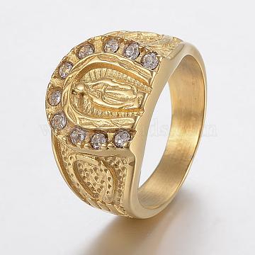Vacuum Plating 304 Stainless Steel Rhinestone Finger Rings, Virgin Mary, Golden, Size 8~13,18~23mm(RJEW-H125-67G)