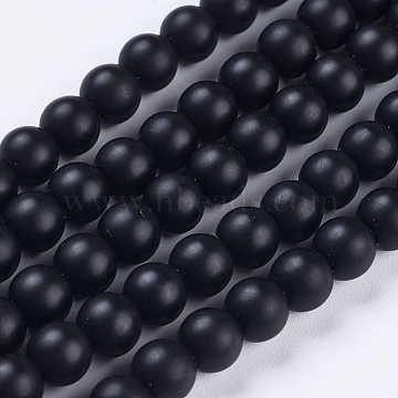 Synthetic Black Stone Bead Strands, Frosted, Round, 6mm, Hole: 1mm; about 65pcs/strand, 15.7 inches(X-G-R345-6mm-38-1)