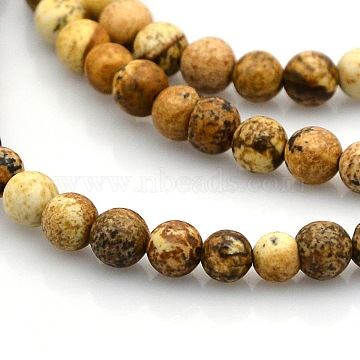 Round Natural Picture Jasper Beads Strands, 4~5mm, Hole: 1mm; about 102pcs/strand, 15.7 inches(G-N0120-24-4mm)