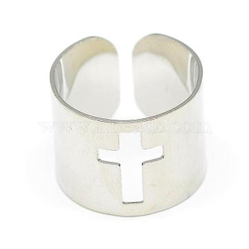 Adjustable Stainless Steel Cuff Finger Rings, Wide Band Rings, Cross, Size 7, Stainless Steel Color, 17mm(RJEW-S038-048)