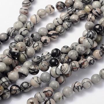 16 inches Gemstone Strands, Round,  Black Silk Stone/Netstone, Bead: 8mm in diameter, hole: 1mm. about 50pcs/strand(X-GSR8mmC137)