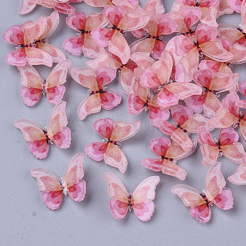 Plastic Cabochons, Butterfly, Pink, 8x11x2.5mm(X-KY-T015-13B-02)