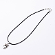 Antique Silver Alloy Heart Waxed Cord Pendant Necklaces(NJEW-J054-02)-1