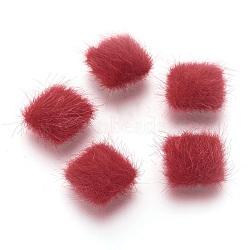 cabochons recouverts de fausse fourrure, avec des conclusions d'alliage plaqué couleur argent, carré, rouge, 13x13x5 mm(WOVE-F021-04S-07)