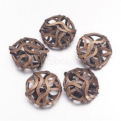 Perles de fil de fer de bronze antiques, ovale, environ 19 mm de large, Longueur 20mm, épaisseur de 7mm(X-IFIN-D003-AB)