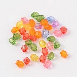 Facettes perles de cristal toupie perles acryliques transparents, teint, couleur mixte, 3mm, Trou: 1mm(X-DBB3mm)