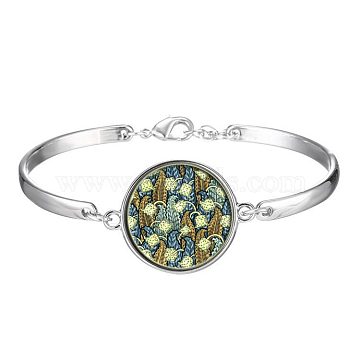 Picture Glass Links Bracelets, with Alloy Findings, Flat Round with Pattern, Colorful, 2-1/8 inches(5.5cm)(BJEW-O171-05)
