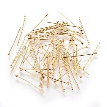 304 Stainless Steel Ball Head Pins, Ball Head Pins , Golden, 25x0.6mm, Head: 1.8mm(X-STAS-P227-12G)