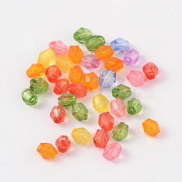 Faceted Bicone Crystal Beads Transparent Acrylic Beads, Dyed, Mixed Color, 3mm, Hole: 1mm(X-DBB3mm)