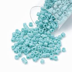 Miyuki® delica beads, perles de rocaille japonais, 10 / 0, (dbm 0878) mat vert turquoise opaque ab, 1.6x1.8 mm, trou: 0.5 mm; sur 1080 pcs / bouteille(SEED-S015-DBM-0878)