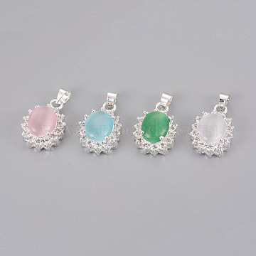 Cat Eye Pendants, with Rhinestone and Brass Findings, Oval, Silver Color Plated, Mixed Color, 18x13x7mm, Hole: 4mm(KK-F793-44)