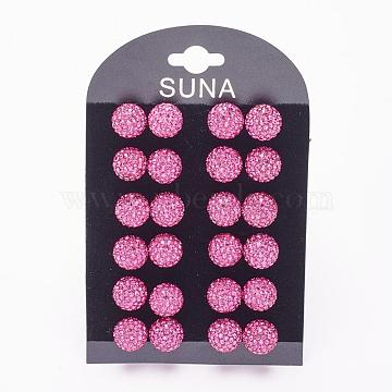 Valentines Day Gift for Her, 925 Sterling Silver Austrian Crystal Rhinestone Stud Earrings, Ball Stud Earrings, Round, 502_Fuchsia, 12mm(Q286L-502)