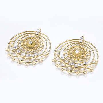 Golden Gold Flat Round Alloy+Rhinestone Links