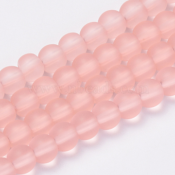 8mm Pink Round Glass Beads