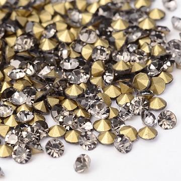 Back Plated Grade A Diamond Glass Pointed Rhinestone, Black Diamond, 1.9~2mm; about 1440pcs/bag(RGLA-SS6-003)