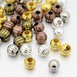 Perles ondulées en fer, rond, couleur mixte, 5mm, trou: 2 mm; environ 1000 pcs / 200 g(IFIN-X0030-5mm)